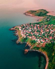 美丽海岛建筑鸟瞰图高清图