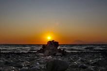 海平面夕阳落日精美图片