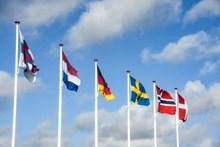 多国旗帜飘扬图片素材