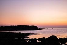 紫色黄昏海岸线图片下载