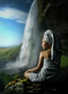 山水美女风景人体写真图片大全