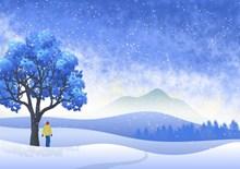 蓝色冬季唯美插画图片素材