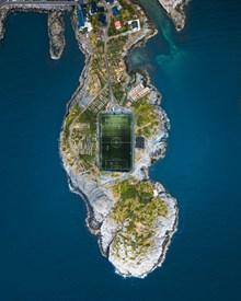 环海小镇鸟瞰图图片下载