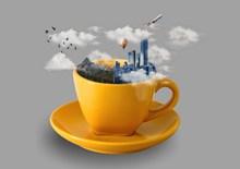 另类咖啡杯城市高清图片