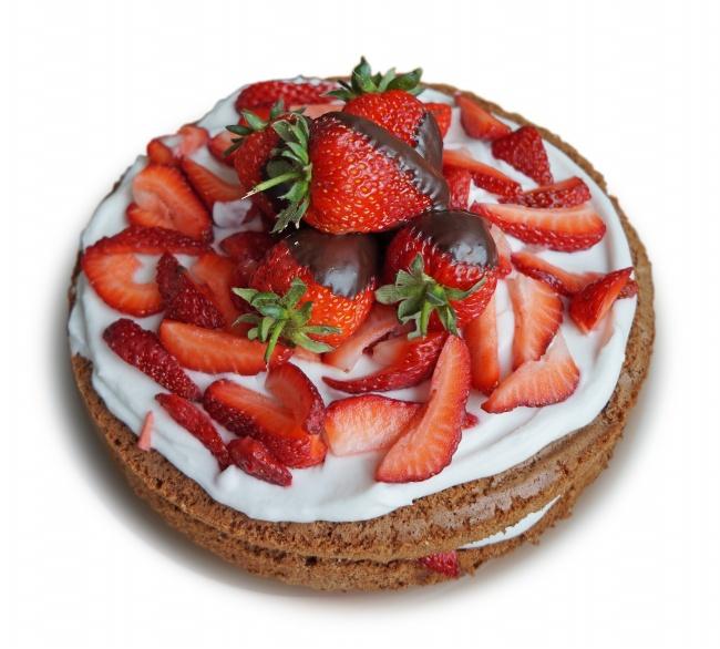新鲜草莓奶油蛋糕图片素材