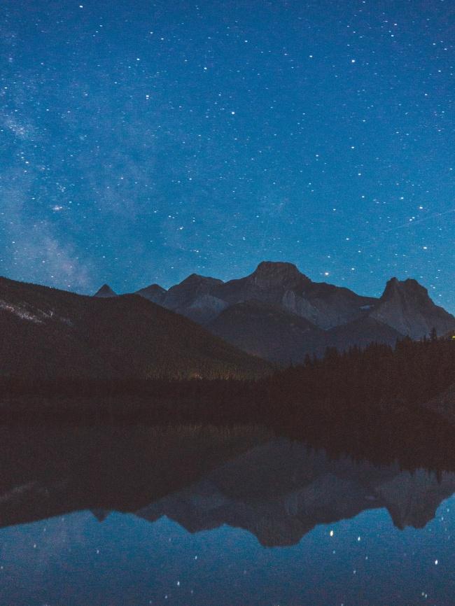 湖泊倒影宁静夜景图片下载