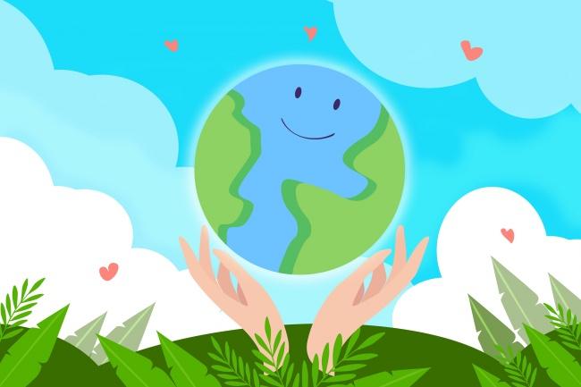 保护地球卡通海报素材图片下载