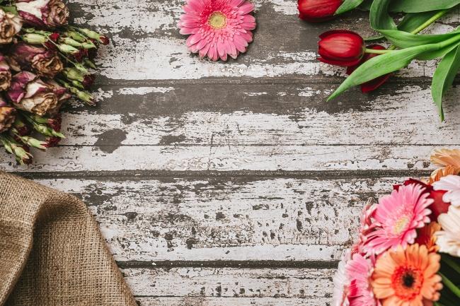 木板花朵背景素材高清图片