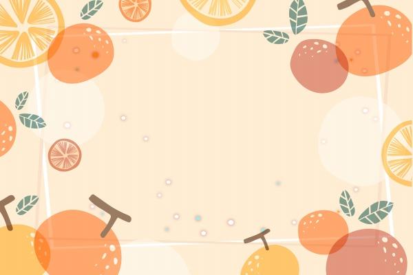 橙色风卡通水果背景图片大全