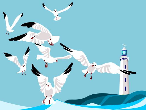 海边海鸥灯塔卡通高清图片