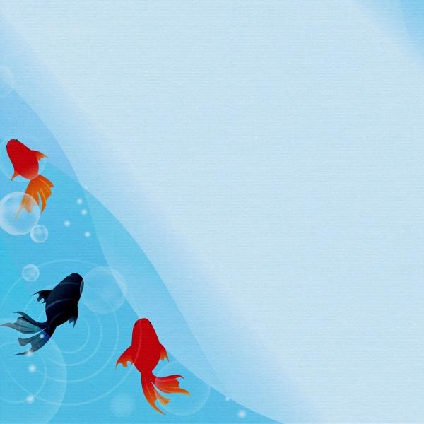 蓝色小清新锦鲤背景精美图片