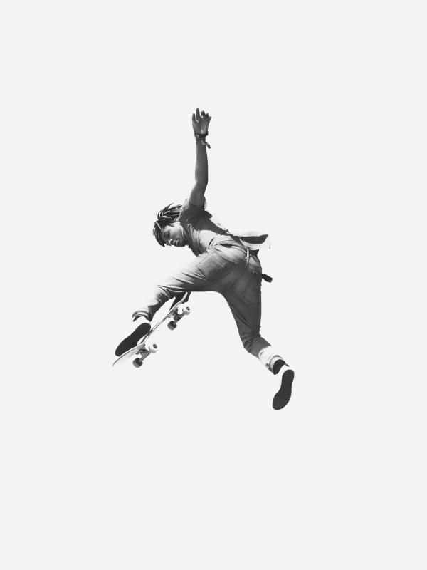 极限滑板运动黑白摄影图片大全