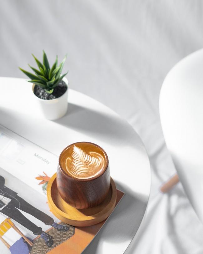 小清新拉花咖啡静物摄影图片