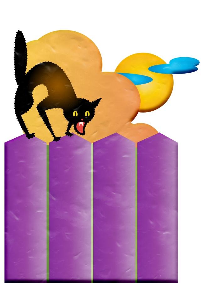 万圣节黑猫插画图片大全