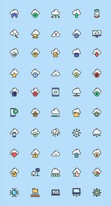 50枚云计算网络元素图标psd素材