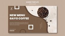咖啡店横幅概念模板psd下载