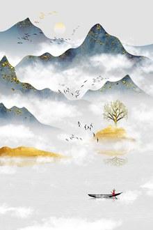 中国风山水元素psd免费下载