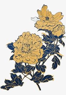 中式金色描边蓝色花朵psd免费下载