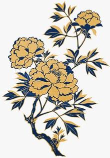 中式金色描边蓝色花叶子psd免费下载