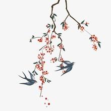 手绘国风树枝燕子分层素材