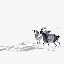 水墨羚羊古风psd图片