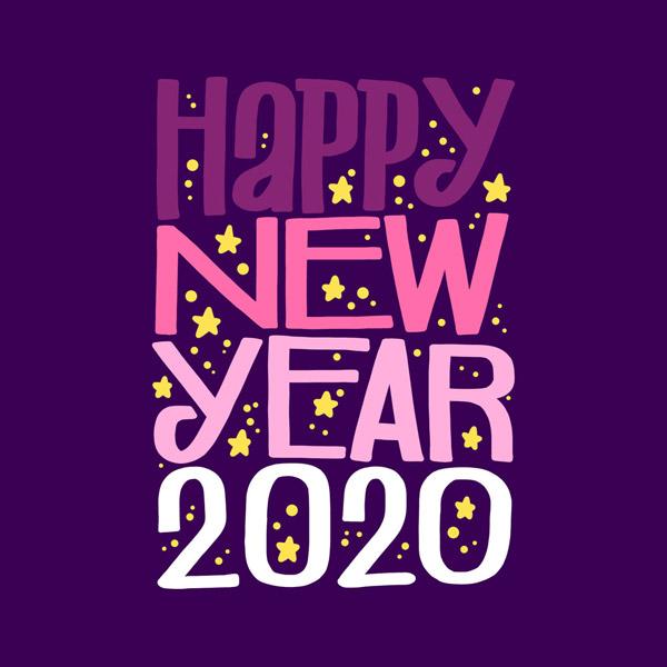 2020年紫色新年快乐艺术字图矢量下载