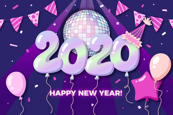 2020年紫色气球新年贺卡矢量下载