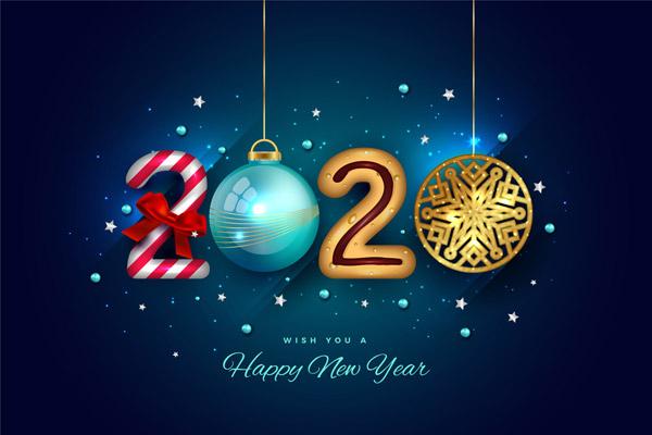 2020年彩色圣诞吊球艺术字矢量下载
