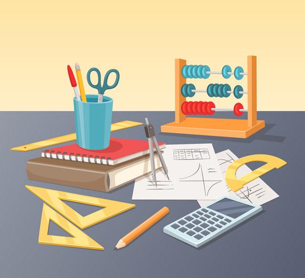 创意桌子上的数学用文具图矢量下载