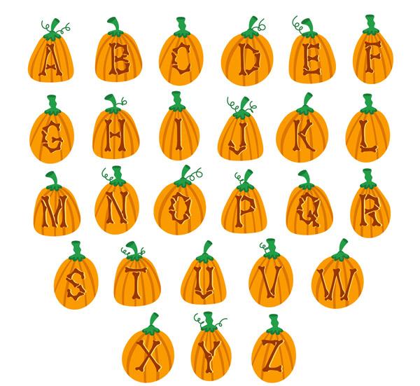 26个橙色南瓜字母设计矢量素材