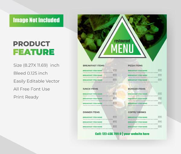 餐厅的食品菜单传单模板矢量图
