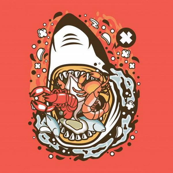 卡通鲨鱼海鲜矢量素材