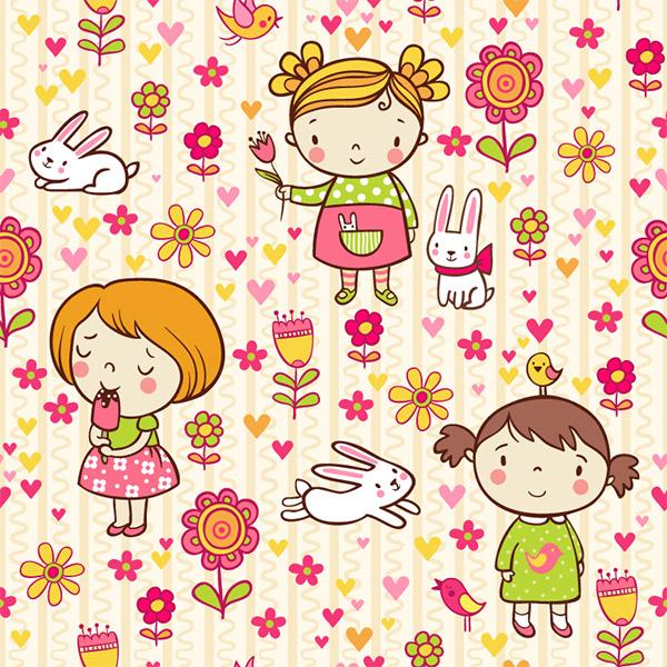 可爱卡通女孩和花朵无缝背景(2)矢量下载