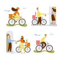 4款创意单车送货员矢量图