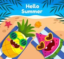 卡通海边度假的菠萝和西瓜图矢量图下载