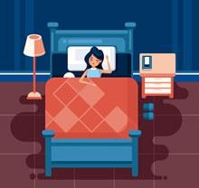 创意夜晚睡眠女子矢量图下载