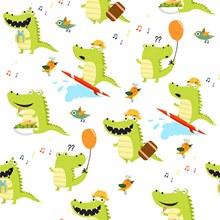 可爱鳄鱼无缝背景矢量图片