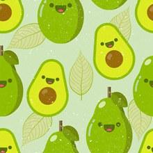 绿色笑脸牛油果无缝背景图矢量素材