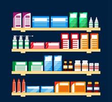 创意摆满药品的货架设计矢量图下载