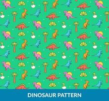 彩色恐龙树木无缝背景图矢量素材
