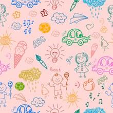 彩绘儿童和玩具无缝背景图矢量图下载