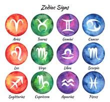 彩绘圆形12星座标志矢量