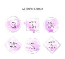 6款创意婚礼徽章矢量图片