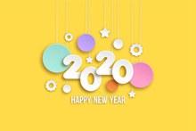 2020年白色新年快乐艺术字图矢量图片