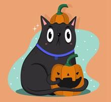 可爱抱南瓜灯的黑猫矢量