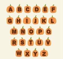 26个橙色南瓜字母矢量素材