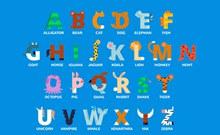 26个彩色动物形字母矢量