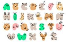 26个抽象动物字母矢量图下载