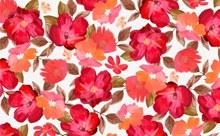 水彩绘红色花卉无缝背景矢量下载