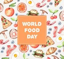 彩绘世界粮食日食物矢量